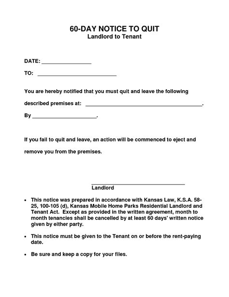 60 day notice apartment template 10 best images of 60 day notice form 30 day eviction