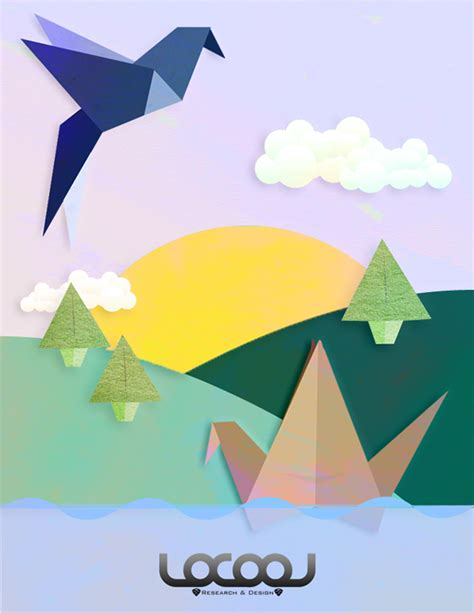 Origami In Nature - origami nature graphic on behance