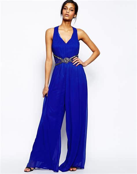 Jumpsuit Murah Midi Jumpsuit 2 lyst jumpsuit with cross back and embellished waist in blue