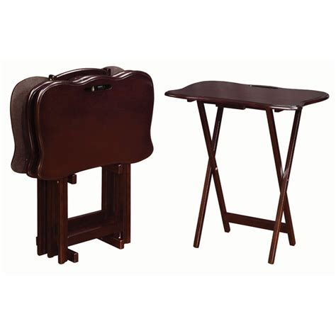 Folding Tray Table Set Coaster Folding Tray Table With Stand In Cappuccino Set Of 4 902717