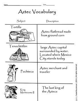 Aztec Worksheets aztec visual vocabulary worksheet bonus montezuma ii bw