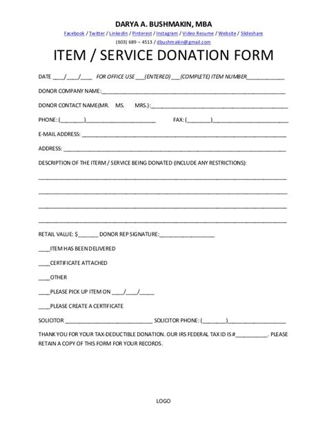 Mba Donation by Item Service Donation Form