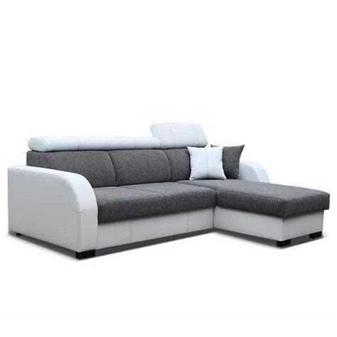 Faux Leather Corner Sofa Bed Cardiff Corner Sofa Bed In White Faux Leather And Grey