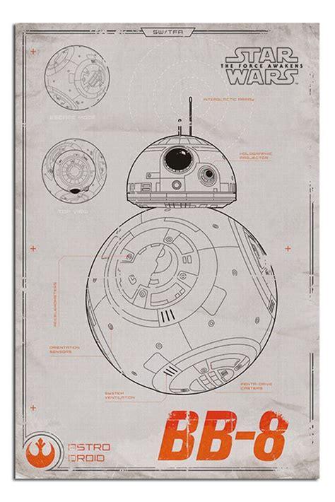 Poster A3 Wars Bb8 wars episode 7 the awakens bb 8 blueprint