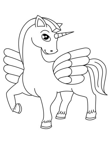 Coloring Page Unicorn With Wings by Winged Unicorn Coloring Page Free Printable