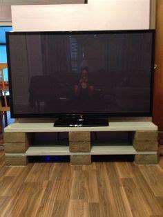home  entertainment center   cinder blocks