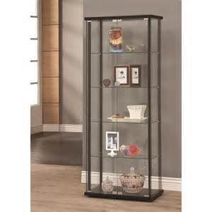 Coaster Display Cabinet Black Coaster Furniture 950170 5 Shelf Contemporary Glass Curio