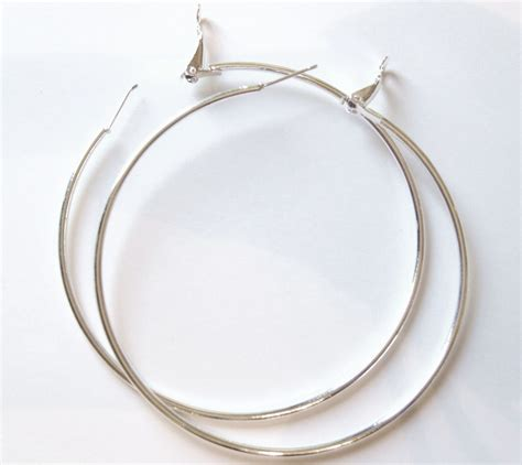 large silver hoop earrings large silver hoop earrings 2 75 inch ea86 earrings