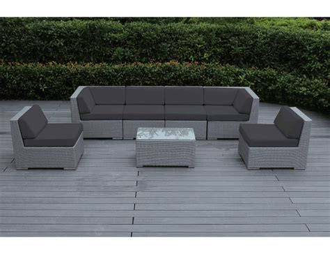 Light Blue Sectional Beautiful Outdoor Patio Wicker Furniture Deep Seating 7pc