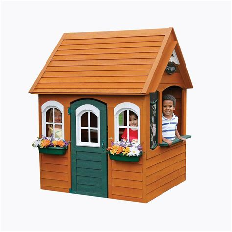 backyard play houses kidkraft bancroft wooden playhouse p280080x the home depot