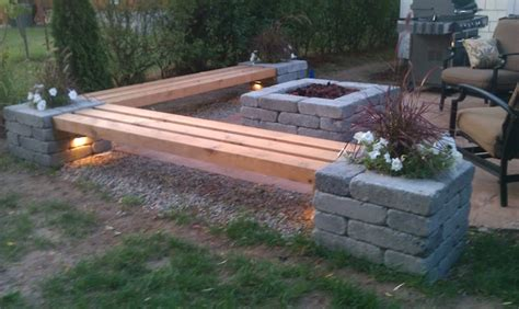 diy stone bench hull patio pergola propane fire pit custom benches