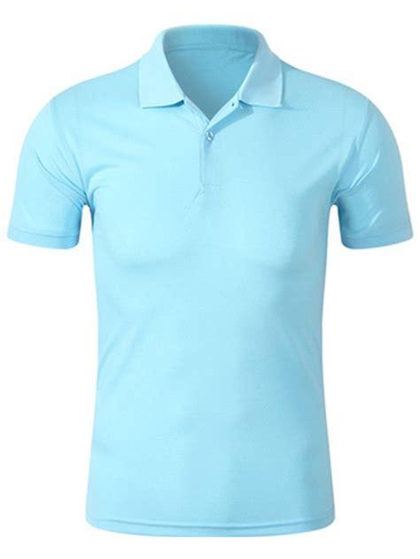 Plain Buttoned Shirt half buttoned plain golf shirt blue l in t