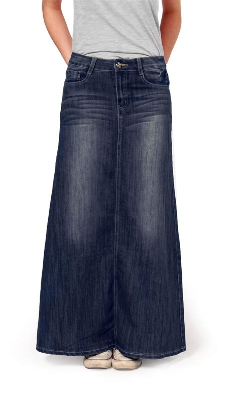 womens length denim skirt maxi skirt 83