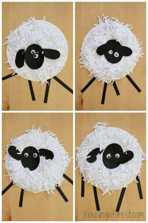 Shredded Paper Crafts - paper plate sheep craft housing a forest