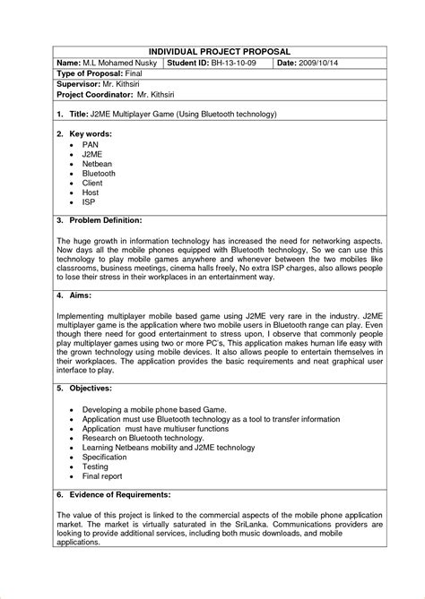 project template doc sle project template business