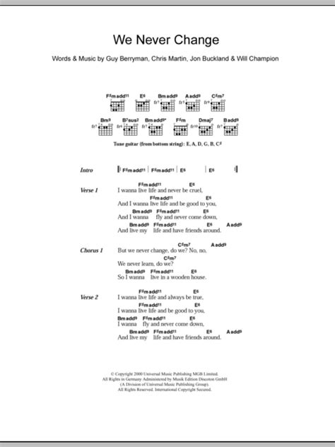 coldplay we never change lyrics we never change by coldplay guitar chords lyrics