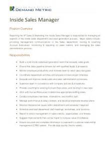 Inside Sales Manager Description inside sales manager description