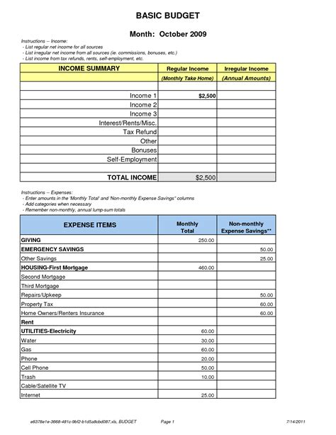 household budget template excel monthly expense spreadsheet