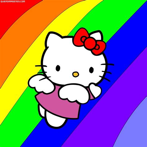 imagenes de kitty rock hello kitty volando sobre el arco iris
