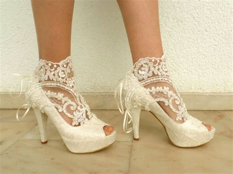 Bridal Bootie Shoes by Wedding Shoes Bridal Shoes Embroidered Ivory Lace Booties