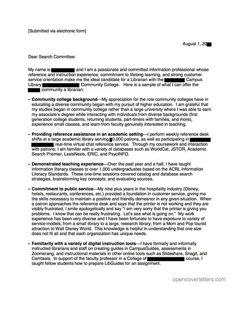 community college librarian cover letter open cover letters
