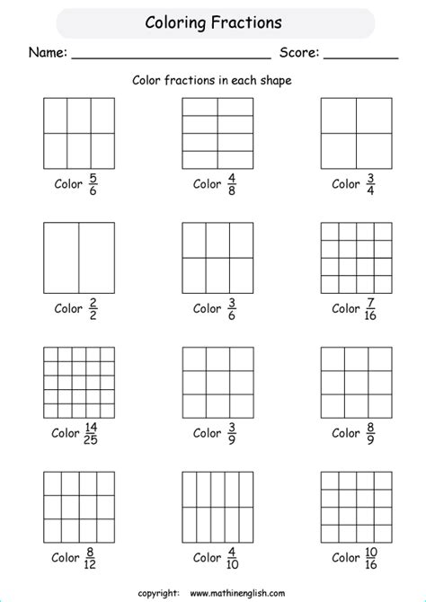 math coloring pages with fractions free worksheets 187 color by fractions free math