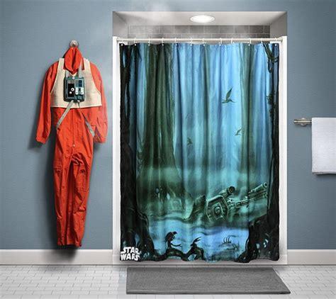 lego star wars shower curtain dagobah shower curtain bathe you must technabob