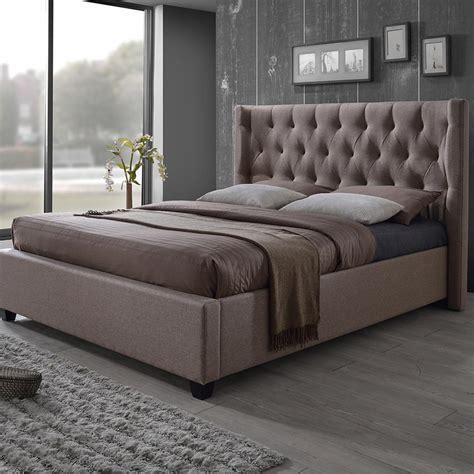 baxton studio king bed baxton studio kensington brown king upholstered bed 28862