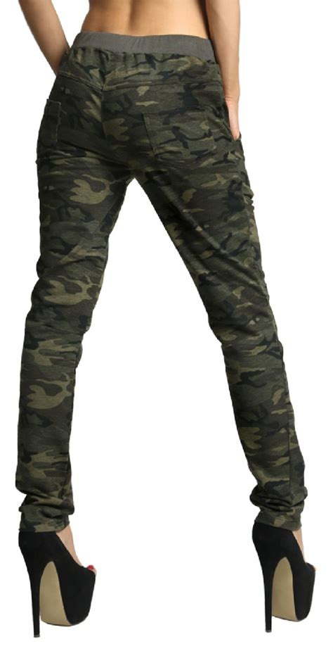 camouflage pattern jeans zeta ville women s treggings pants trousers camouflage