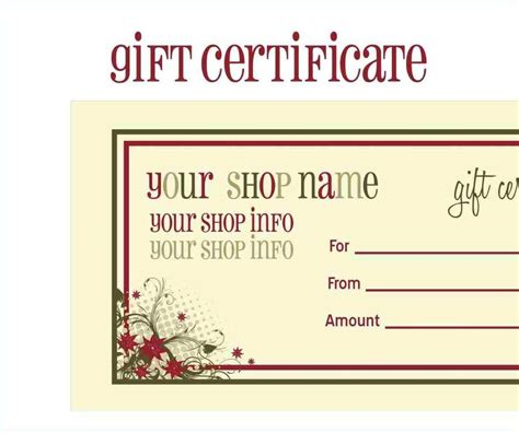 free printable gift cards templates template update234