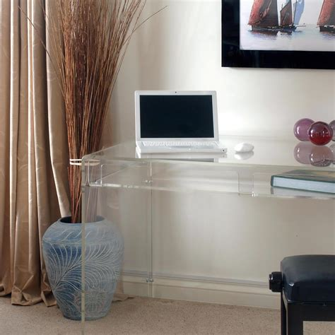 modern acrylic console computer desk with drawer and shelf
