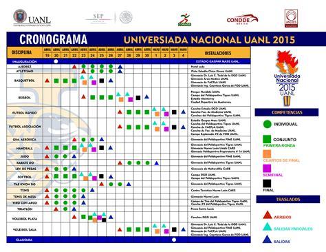 Calendario Uv 2015 Cronograma Universiada Nacional 2015 Actividades Deportivas