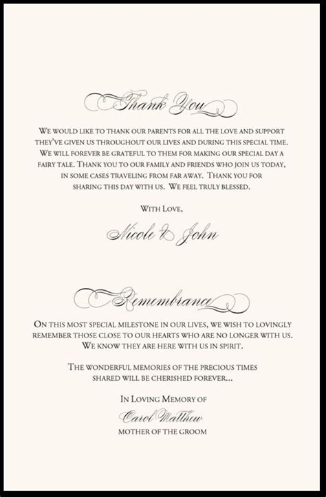 Wedding Ceremony Thank You Wording by In Remembrance Wedding Program Wedding Program Thank You