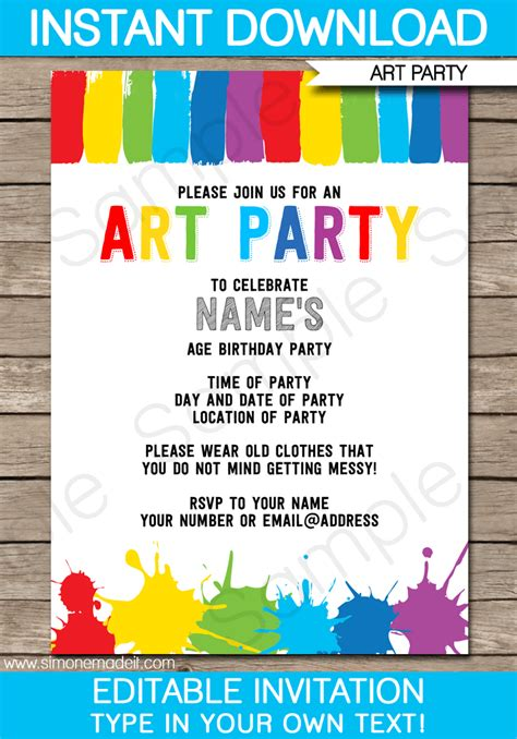 Art Party Invitations Template Art Party Invitations Art Party And Paint Party Birthday Invitations Templates