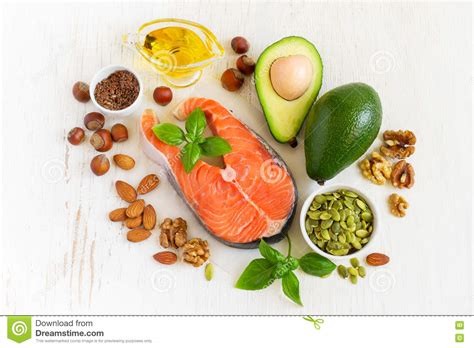 top 3 healthy fats food sources of omega 3 and healthy fats top view stock