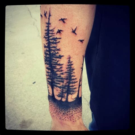 watercolor tree tattoo sleeve pine tree trees black bird birds tattoos i like