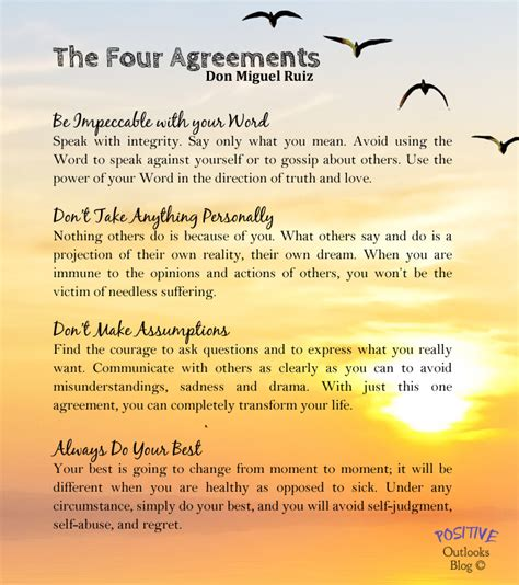 the four agreements practical a practical guide to personal freedom positive outlooks blog