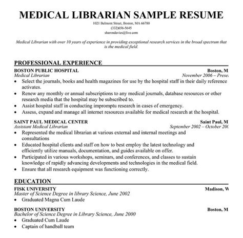 resume format for librarian pdf librarian resume sle resumecompanion