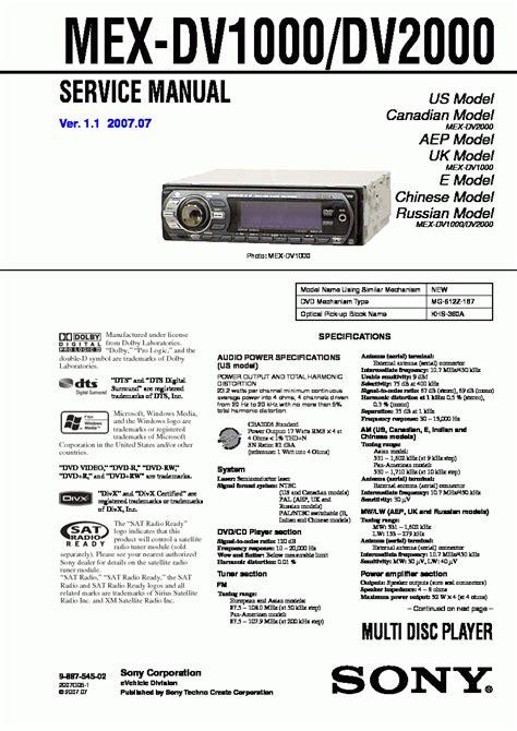 Sony Cd Player Mex Dv1000 User Guide Manualsonline sony mex dv2000 car stereo wiring diagram honda prelude wiring diagrams car stereo wire