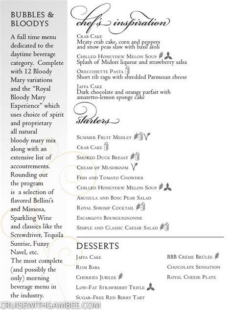 The Dining Room St Menu by Royal Caribbean Dining Room Menus Cruise With Gambee