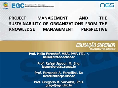 Sustainability Management Mba by Project Management And The Sustainability Of Organizations