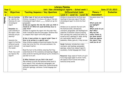 chronological report template non chronological report planning based on school by pips