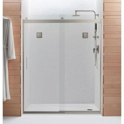 Shower Door At Home Depot Kohler Levity 60 1 4 In X 74 In Frameless Sliding Shower Door With Handle In Nickel 706009 L