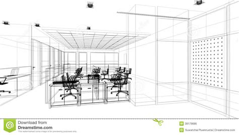 3d Home Architect Design Samples sketch design of interior office stock illustration