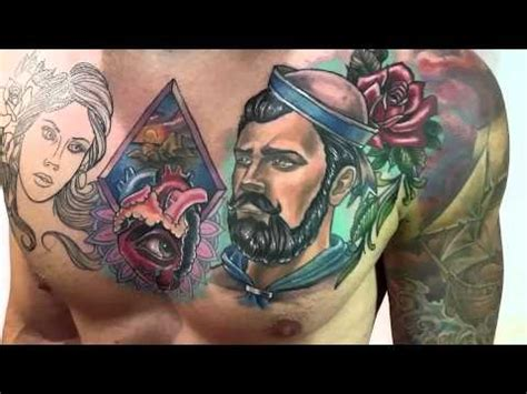 tattoo on chest youtube tattoo chest heart sailor and es vedr 225 1st session not