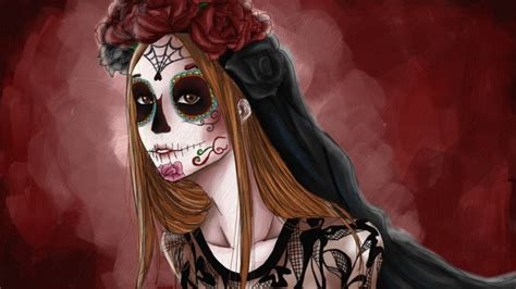 sugar skull michelle  demonicblackcat  deviantart