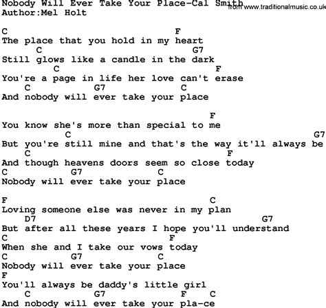A Place Take 6 Lyrics Country Nobody Will Take Your Place Cal Smith Lyrics And Chords