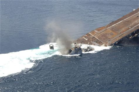 how fast is florida sinking uss oriskany being sunk to form an artificial reef in 2006