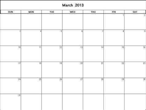 March 2013 Calendar March 2013 Printable Blank Calendar Calendarprintables Net