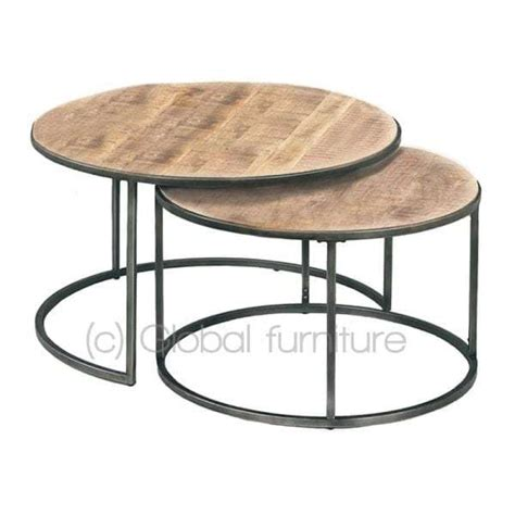 ronde salontafel hout ikea nora bijzettafel salontafel set rond hout metaal industrieel